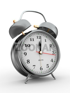 Midnight. Old-fashioned alarm clock on white background. 3d