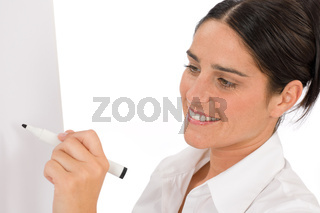 Happy businesswoman writing at empty flip chart