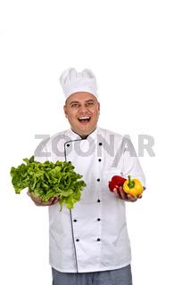 Koch beim frischen Zutaten