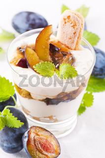 Ricotta dessert with plum
