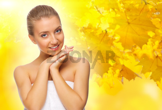 Healthy girl on autumnal background