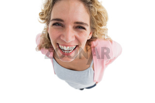 Overhead of cheerful woman standing