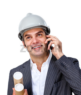 Charming male architect on phone against a white background