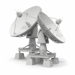 Communiation. Satellite dish on white background. 3d