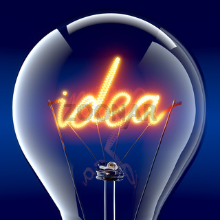 The word 'idea' light bulb inside