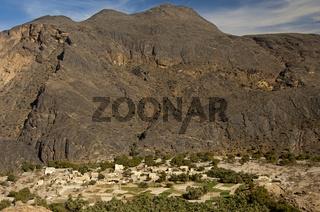 Die Oase Haat am Al Hadschar Gebirge, Oman