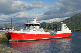 The cargo ship Viktoria Viking moored at Kyle of Lochalsh