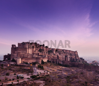 Mehrangarh Fort in twilight on sunset
