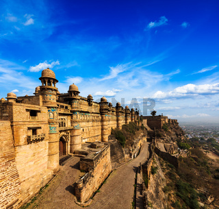 India tourist attraction - Mughal architecture - Gwalior fort. Gwalior