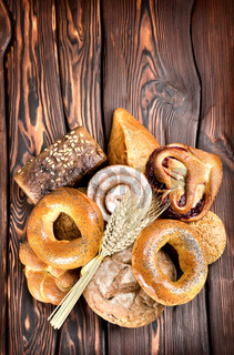 Bakery products on wooden boards