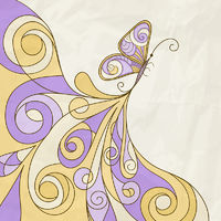 vector butterfly and abstract pattern, crumpled paper texture