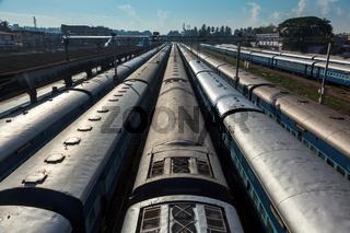 Trains at train station. Trivandrum