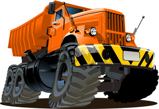 Vector cartoon dump truck 6x6