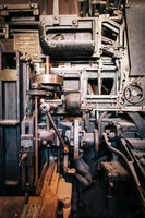 Old vintage printing press machine closeup