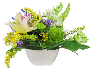 Bouquet from orchids in white vase isolated on white background.