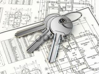 Key on house plan blueprint. 3d