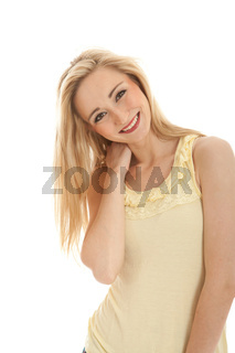 young beautiful blonde woman emotion isolated on white background