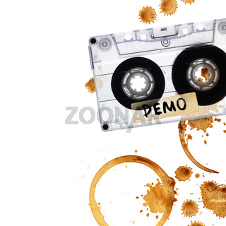 Vintage demo tape with coffee stains.