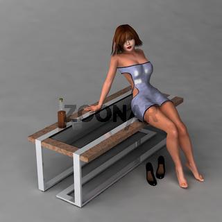 Frau, die auf einem Tisch sitzt