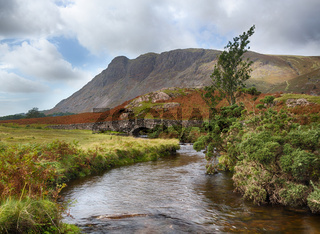 Stone bridge over river by Wastwater
