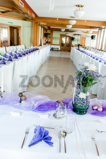 Festive Hall in White and Purple