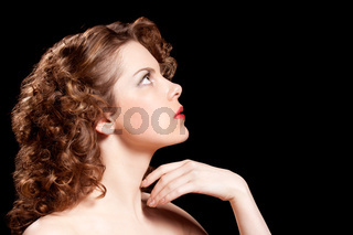 young woman with beauty curly hairs