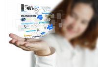 businesswoman shows business process diagram