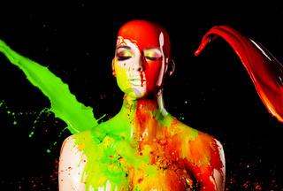 paint splash on manekin head