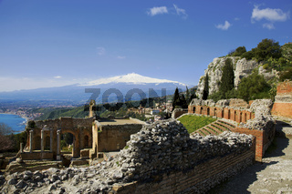 griechisches Theater und Aetna, Taormina, Sizilien, Italy
