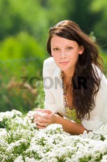Summer garden beautiful woman care white flowers