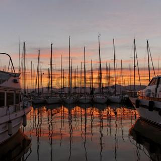 Saint-Tropez, Yachthafen im Abendlicht, Cote dAzur