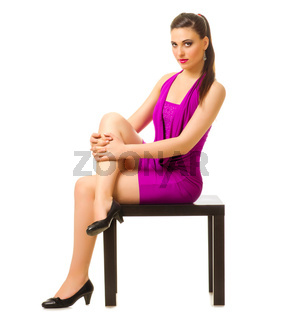 Fashion style portrait of young woman isolated