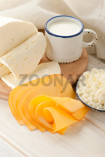 Breakfast with milk and cheese