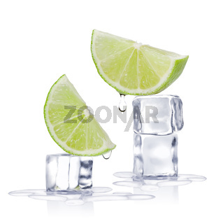 Ice cubes and lime