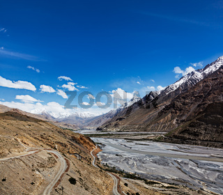 Travel Himalayas background - Spiti Valley in Himalayas. Himachal Pradesh