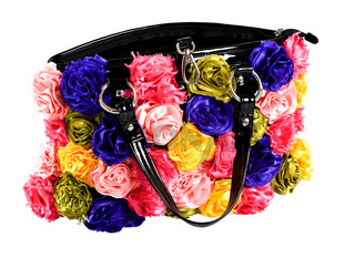 female bag with artificial flowers