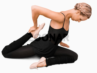 Side view of stretching woman