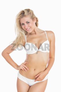 Portrait of sexy woman in white underwear
