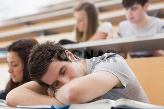 Student sitting at the lecture hall and sleeping