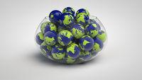Glass bowl full of globes