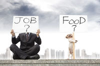 businessman looking for a job and dog looking for the food