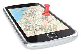 Black Smartphone with a GPS map. Red Pushpin.