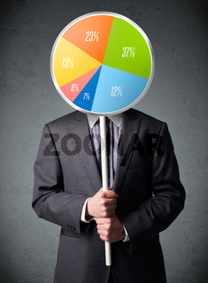 Businessman holding a pie chart