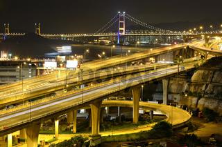 freeway and bridge at night