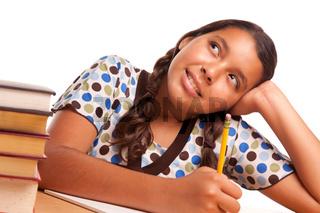 Pretty Hispanic Girl Studying and Daydreaming