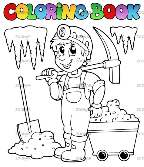 Coloring book with miner - picture illustration.