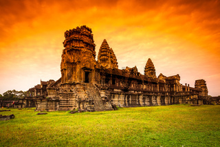 Red Dawn Sunrise at Angkor Wat from the back wall