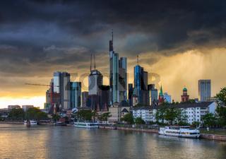 Thunderstorm over the skyline of Frankfurt