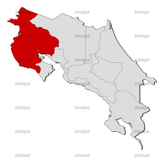 Foto Map of Costa Rica, Guanacaste highlighted Bild #3701110