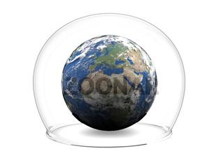 Earth inside glass bowl